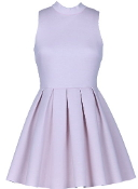 Pale Purple Lavender Fit Flare Pleated Skater Dress