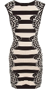 Beige Black Striped Graphic Print Knitted Bodycon Dress