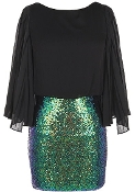 Black Kimono Sleeve Green Sequin Holiday Party Dress