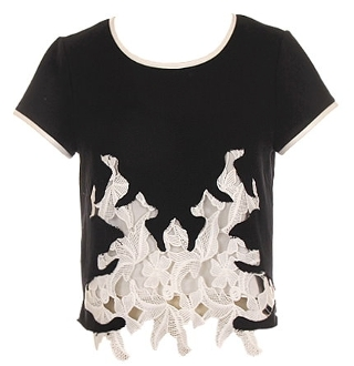 Black Short Sleeve Ivory Lace Applique Front Crop Top