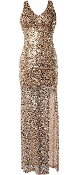 Gold Sequin Fitted Floor-Length Prom Gown Homecoming Maxi Dress