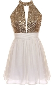 Ivory Gold Sequin Bodice Halter Neck Keyhole Front Party Dress