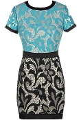 Seafoam Green Black Short Sleeve Fitted Lace Bodycon Dress