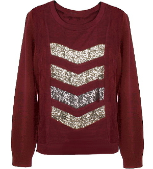 Burgundy Red Gold Sequin Striped Chevron Designer Knit Sweater Top