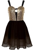 Black Gold Sequin Sweetheart Bust Fit-And-Flare Chiffon Skater Dress