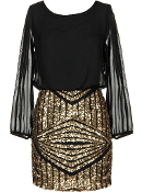 Long Sleeve Black Gold Sequin New Year's Eve Party Dress