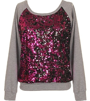 Gray Pink Sequin Front Women's Party Top Long-Sleeve Holiday Sweater