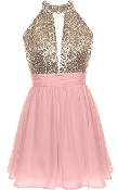 Gold Sequin Halter Neck Pink Chiffon Short Skater Dress