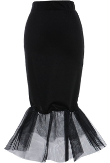 Mid-Length Black Mesh Mermaid Skirt