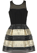 Black Mesh Gold Metallic Hem Bachelorette Party Skater Dress