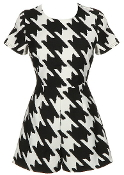 Black And White Houndstooth Print Short Sleeve Monochrome Women's Romper