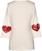 Cream Colored Scoop Neck Red Sequin Heart Applique Tunic Top