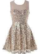 Gold Sequin Mesh Bodice Sweetheart Neckline Fit-And-Flare Skater Dress