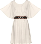 White Scoop Neck Kimono Sleeve Belted Casual Day Dress