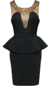 Black Gold Illusion Neckline Peplum Waist Bodycon Dress