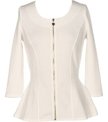 White 3/4 Sleeve Cardigan Top With Gold Zipper