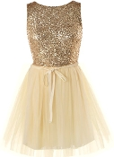Gold Sequin Bodice Mesh Tulle Skater Dress For Prom, Homecoming, Quinceañera