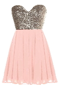 Strapless Gold Sequin Sweetheart Neck Pink Chiffon Mini Party Dress