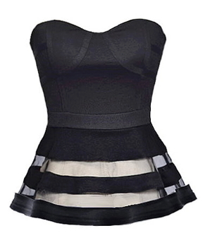 Strapless Sweetheart Neck Black Bustier Mesh Striped Peplum Top