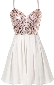 Pink And White Sequin Sweetheart Bust Fit-And-Flare Party Dress