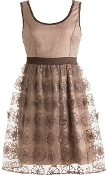 Mocha Brown Scoop Neck Embroidered Lace Bridesmaid Dress