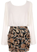 White Chiffon Long Sleeve Metallic Sequin Embroidered Skirt Party Dress