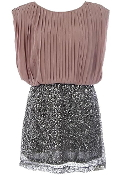 Mocha Brown Chiffon Top Sequin Skirt Short Twofer Party Dress