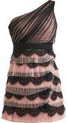 Pink Black Mesh One-Shoulder Tiered Contrast Lace Homecoming Dress