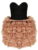 Strapless Black Sweetheart Bodice Frilled Peach Tutu Prom Dress