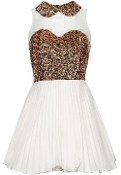 White Bronze Sequin Collar Sweetheart Bust Pleated Chiffon Skater Dress