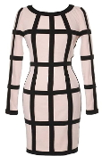 Long-Sleeve Nude Black Bandage Bodycon Cage Dress In Style Of Kim Kardashian
