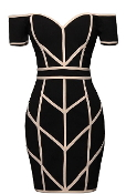 Off-Shoulder Black Geometric Contrast Striped Bandage Bodycon Dress