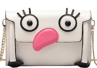 Cartoon Bird Inspired White Flamingo Crossbody Bag