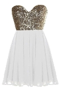 Gold Sequin Sweetheart Neck Strapless White Chiffon Micro Mini Party Dress