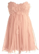 Strapless Peach Sweetheart Petal Applique Short Chiffon Prom Dress