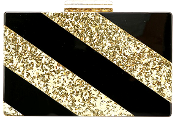 Women's Black Gold Glitter Diagonal Stripe Sequin Box Clutch Acrylic Purse