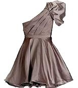 One-Shoulder Satin Mocha Brown Short Bridesmaid Dress