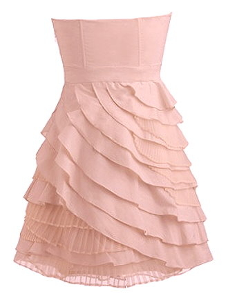 Short Pink Strapless Sweetheart Neck Tiered Bridesmaid Dress