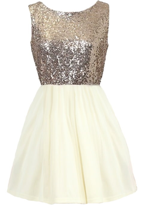 Ivory Gold Sequin Bodice Tie-Back Fit-And-Flare Homecoming Dress