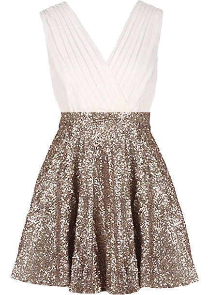 White Crossover V-Neck Gold Sequin Fit-And-Flare Party Dress