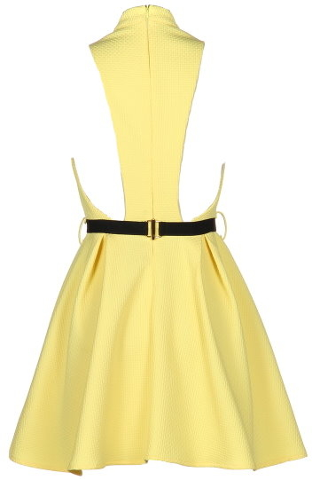 Yellow Vintage-Inspired Casual Summer A-Line Dress