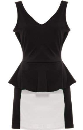 Women's Monochrome Open Back Bow Trimmed Peplum Party Dress