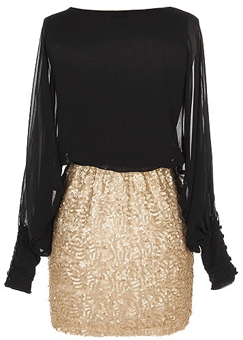 Long-Sleeve Black Gold Sparkling Skirt Going Out Dress