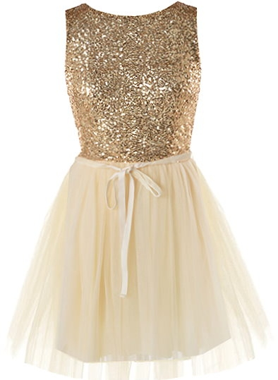 Gold Sequin Mesh Tulle Homecoming Skater Dress