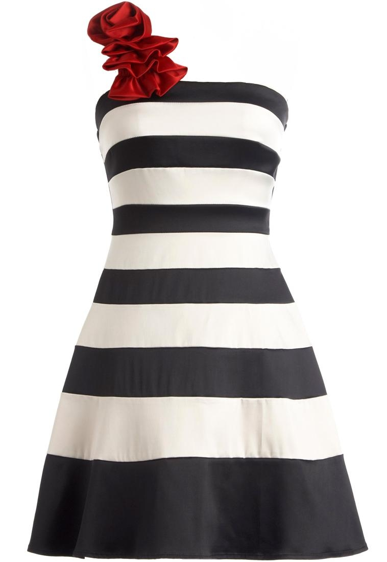 White Black Striped One-Shoulder Red Floral Applique A-Line Dress