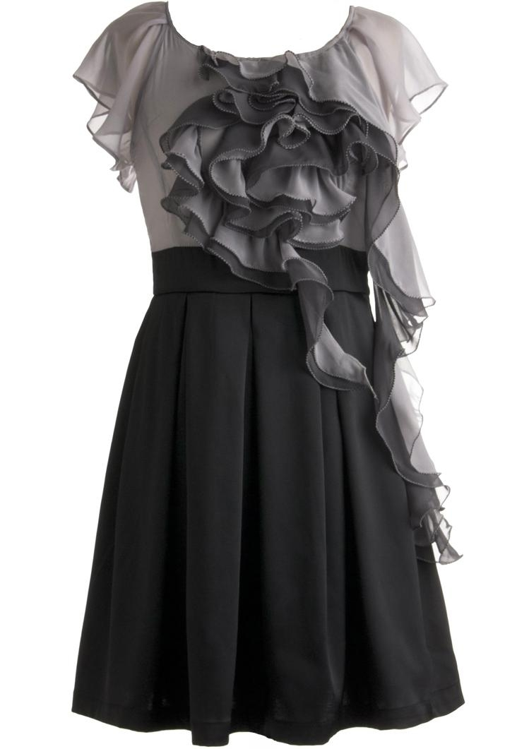 Gray Black Ruffled Silk Chiffon Short Fit-And-Flare Formal Dress