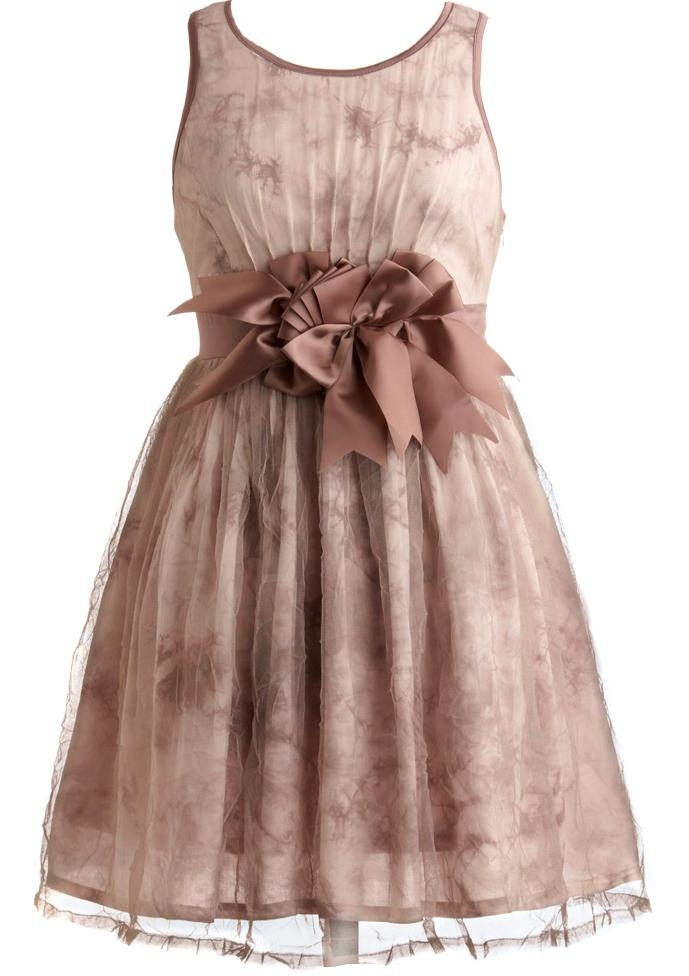 Pink Mauve Purple Short Mesh Bow-Accented Bridesmaid Dress