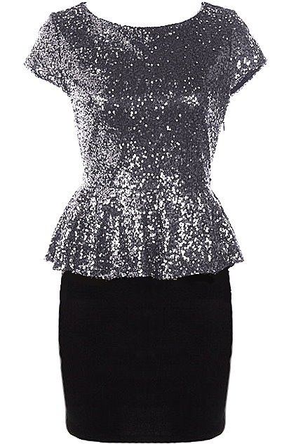 Silver Sequin Cap Sleeve Black Bodycon Peplum Dress