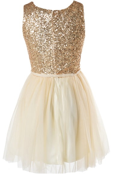 Gold Sequin Tulle Fit-And-Flare Homecoming Dress