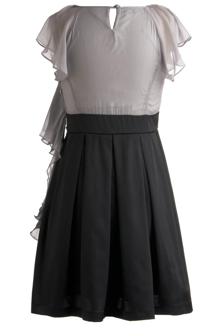 Dark Gray Black Frilled Chiffon Short Sleeve Skater Dress